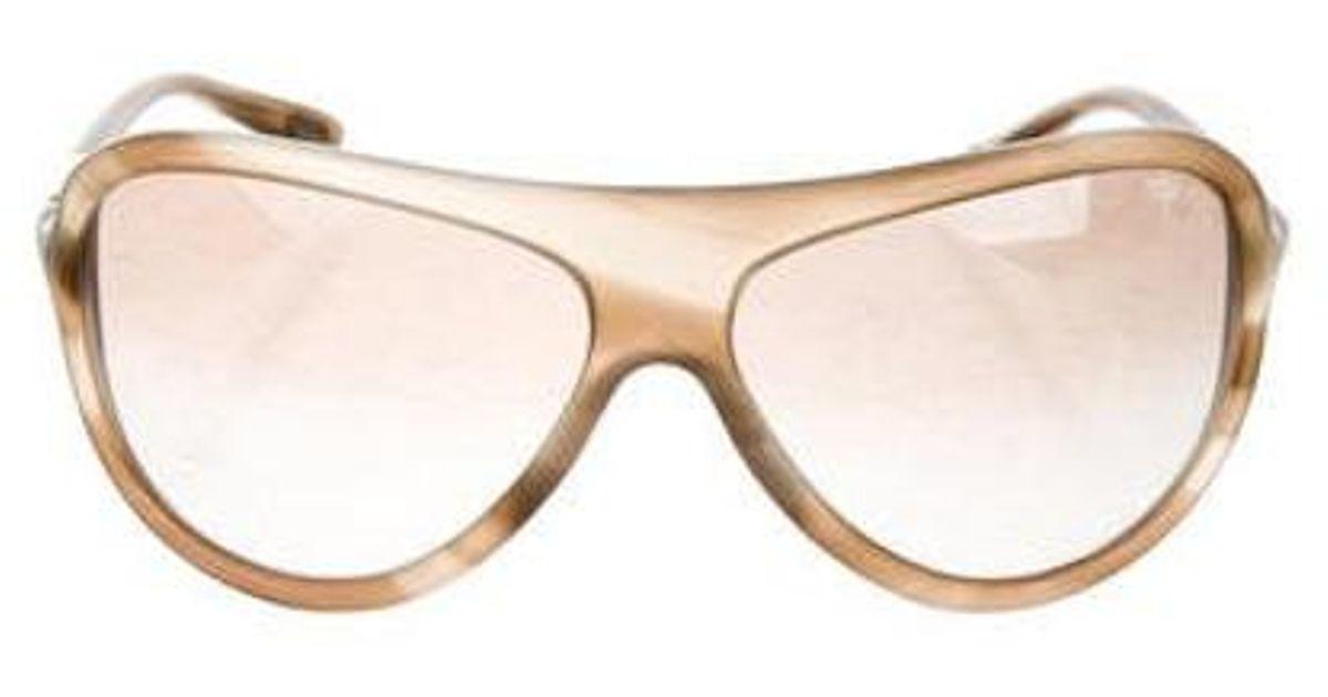 4a19c93288ff Lyst - Tom Ford Gradient Aviator Sunglasses Brown in Metallic
