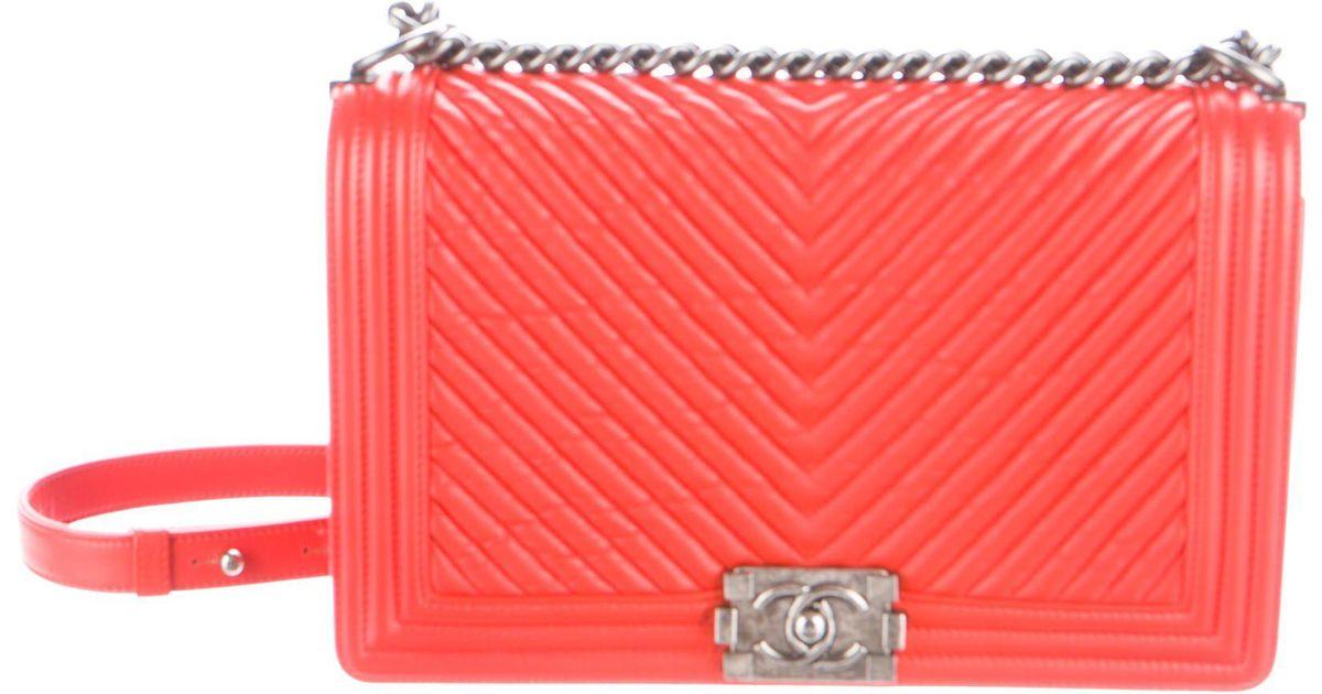 9d003e436381 Lyst - Chanel 2015 Herringbone Chevron New Medium Boy Bag Orange
