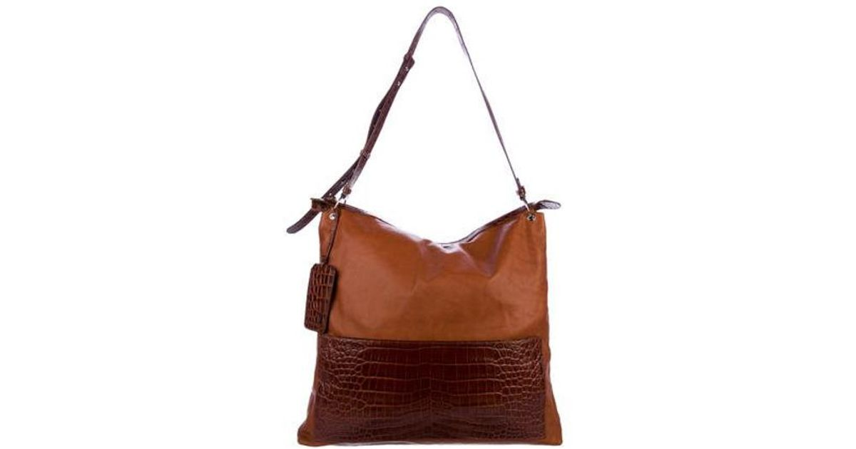 Lyst - Little Liffner Oversize Leather Hobo Cognac in Metallic 9035c361024d0