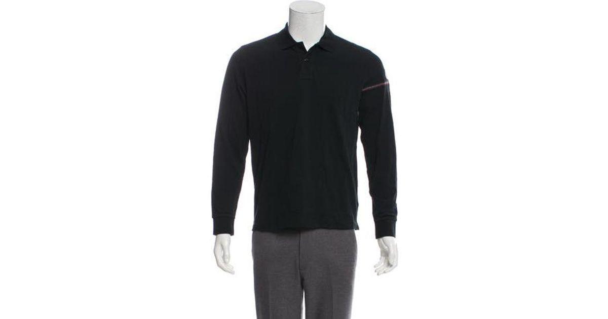 58957b1b4d61 Lyst - Moncler Piqué Long Sleeve Polo Shirt in Black for Men