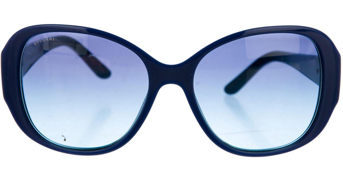 92d6484b7b5 Lyst - Bvlgari Tinted Round Sunglasses Blue in Metallic