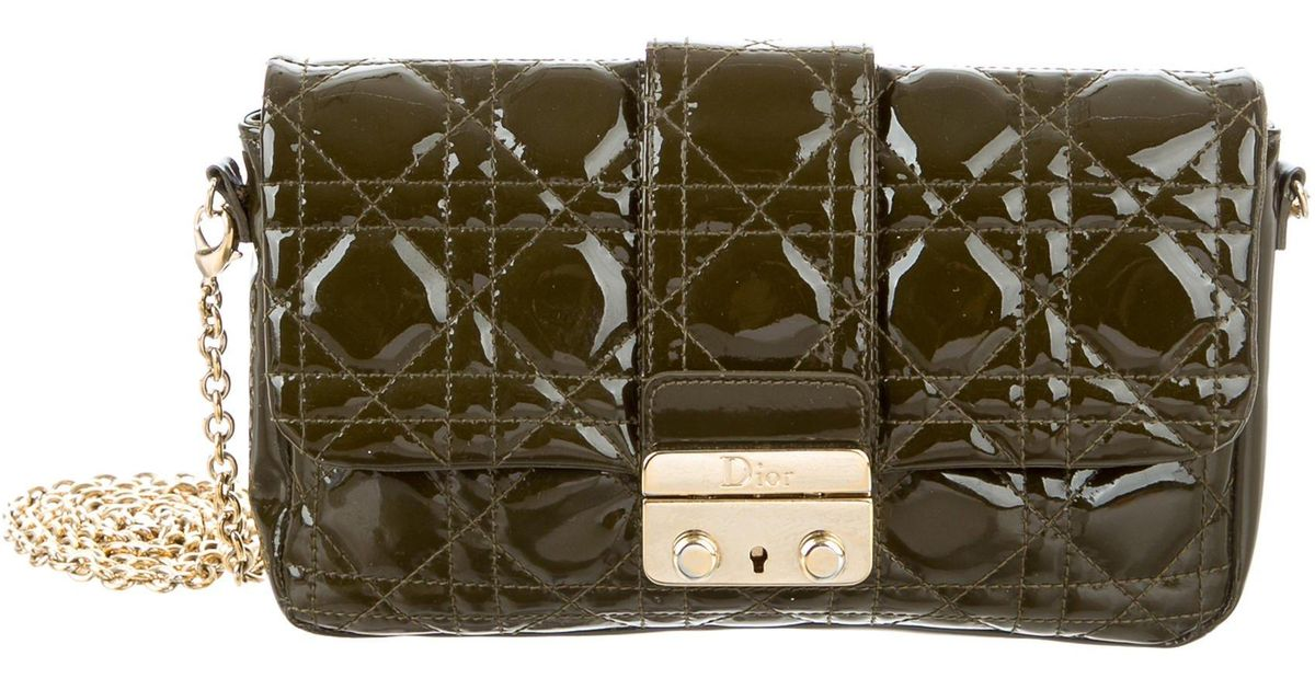 ec6b84e9c2a8 Lyst - Dior Patent Cannage New Lock Pouch Green in Metallic
