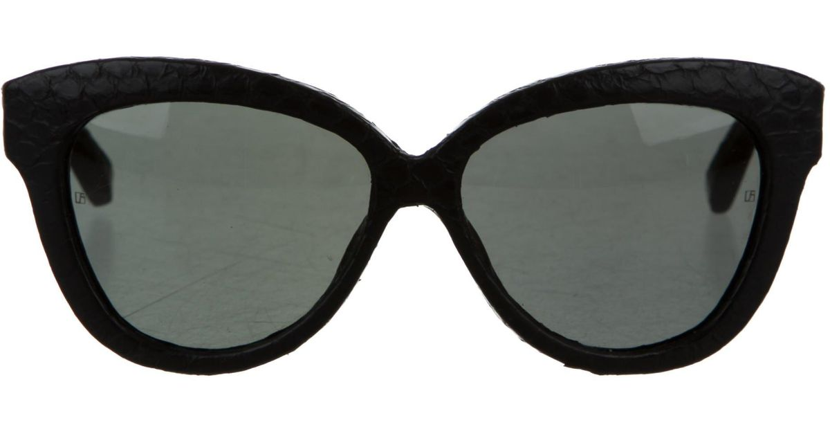 c6362fd25b Lyst - Linda Farrow Watersnake Cat-eye Sunglasses in Black