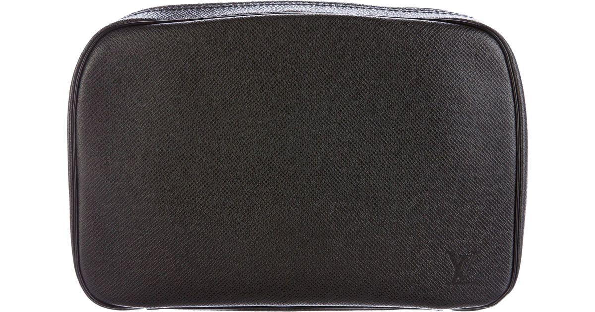 a4bae30839dd Lyst - Louis Vuitton Taiga Toiletry Pouch Gm Black in Metallic for Men