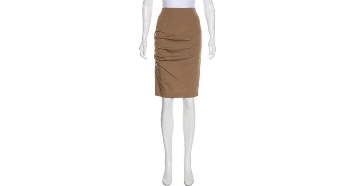 22edb1ce3 Lyst - Brunello Cucinelli Ruched Mini Skirt Khaki in Natural