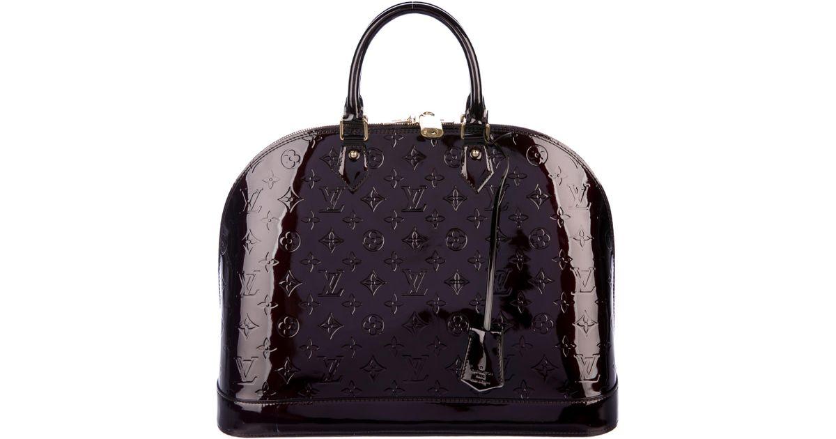 74d2ea1b03d4 Lyst - Louis Vuitton Vernis Alma Mm Burgundy in Red