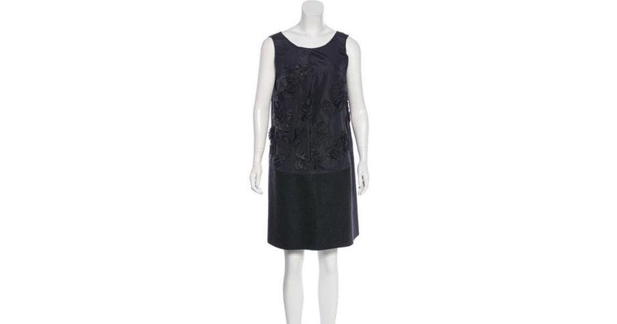 3ba275681a1 Lyst - Vera Wang Silk & Wool Tent Dress Teal in Gray
