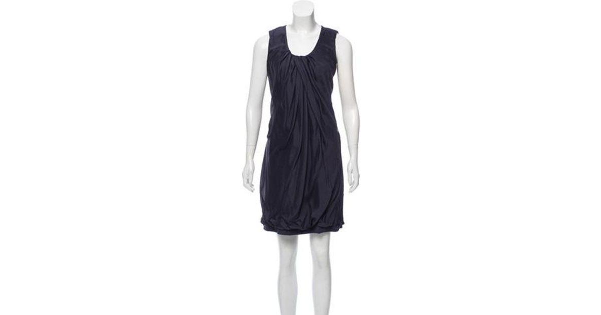 8acd39453d7ed Lyst - Brunello Cucinelli Silk Scoop Neck Dress Grey in Gray