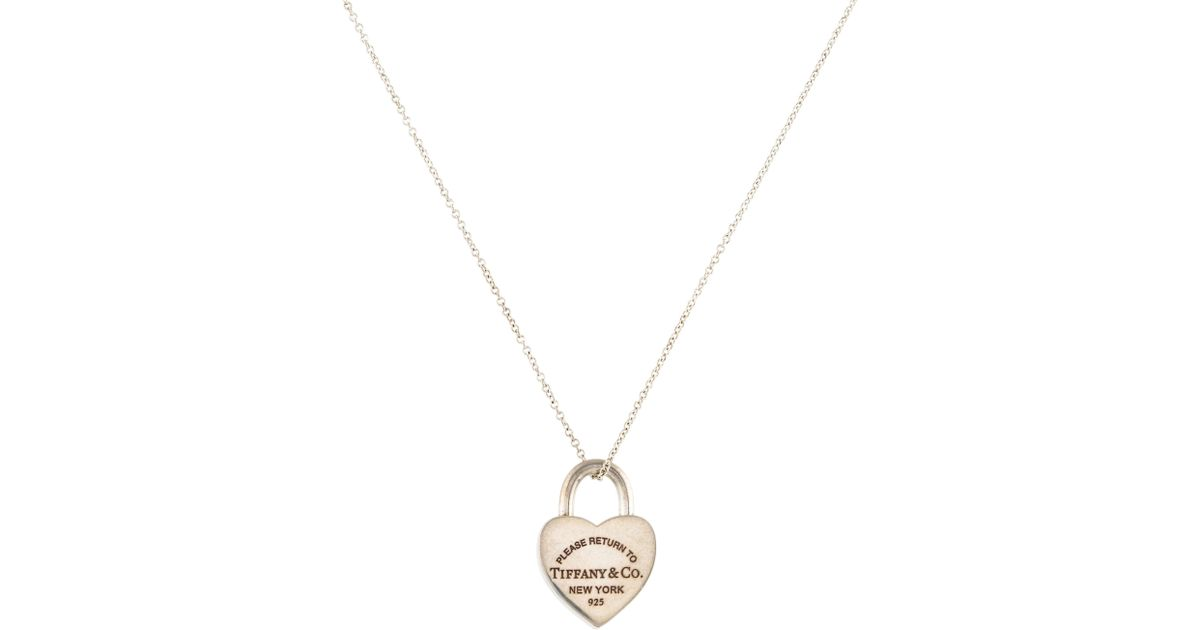 Lyst tiffany co heart lock pendant necklace silver in metallic aloadofball Images