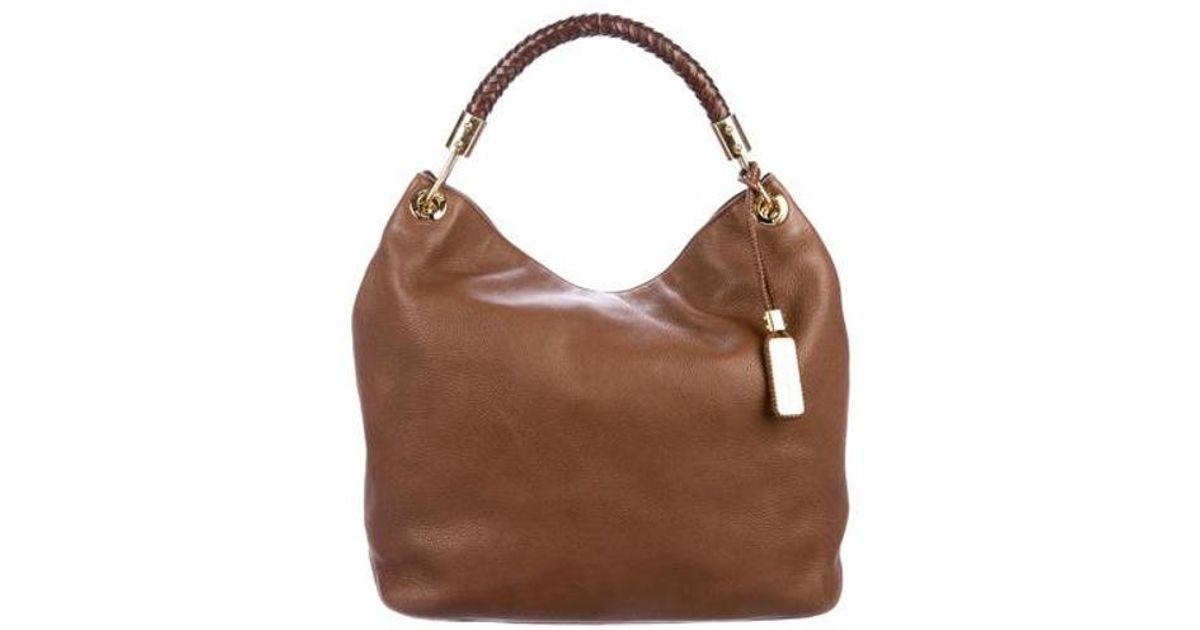 2e544f69a2a3 Lyst - Michael Kors Skorpios Leather Hobo Brown in Metallic