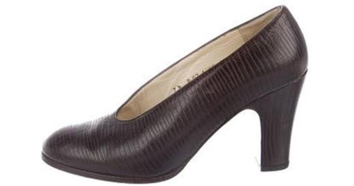 f757f0082c8 Lyst - Robert Clergerie Embossed Round-toe Flats in Brown