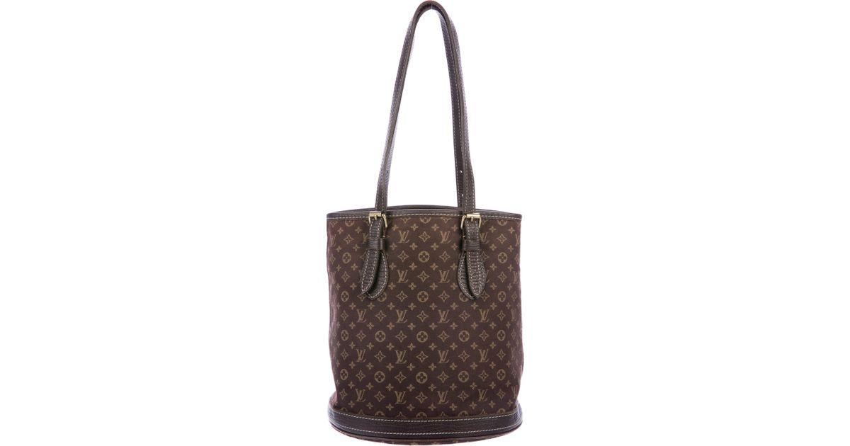 251ae326c23 Lyst - Louis Vuitton Mini Lin Petit Bucket Bag in Brown