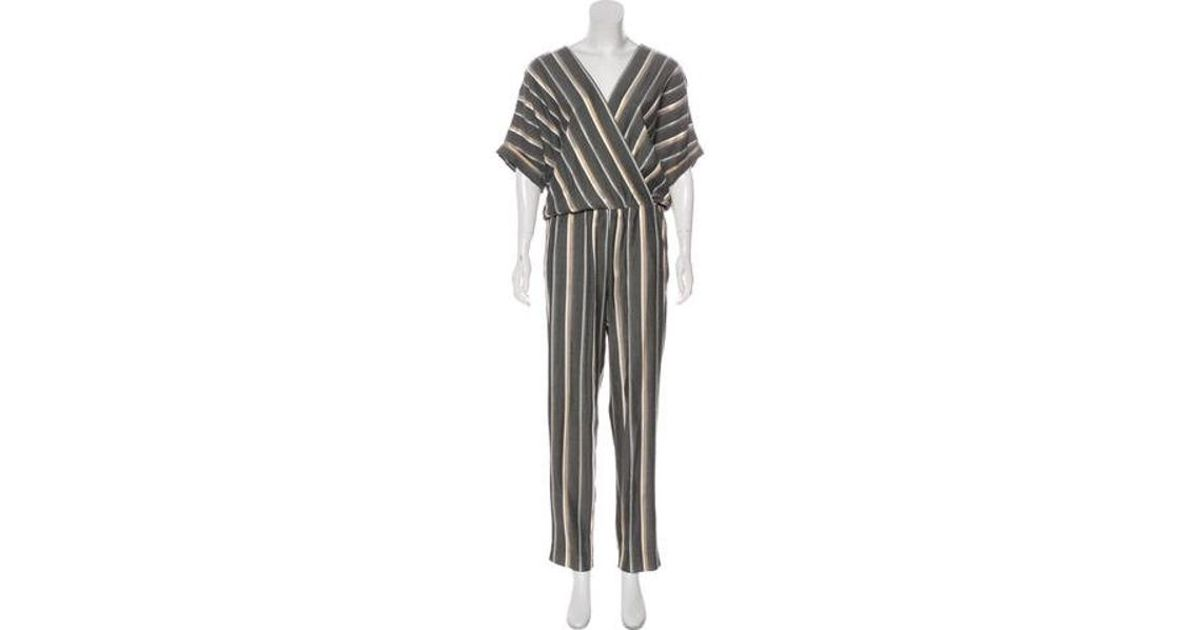 26859cf106b Lyst - Maje Striped Straight-leg Jumpsuit Grey in Gray