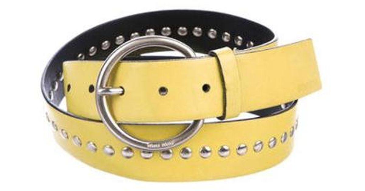 45e2b59805b15 Lyst - Miu Miu Miu Leather Studded Belt Yellow in Metallic