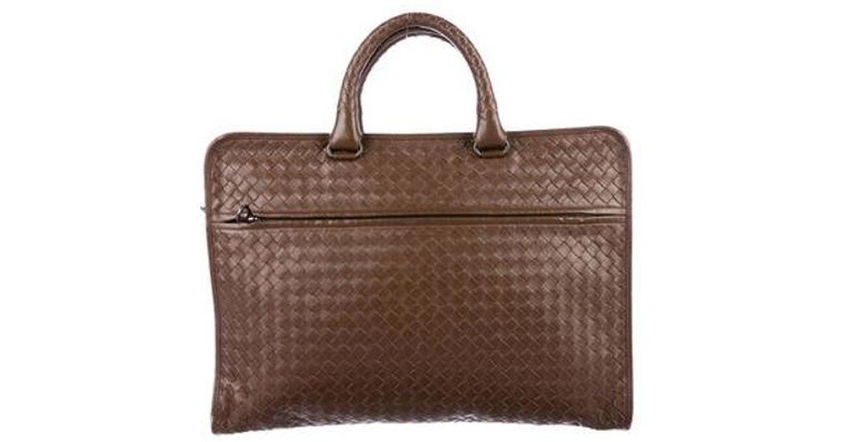2aaff8690c9c Lyst - Bottega Veneta Intrecciato Leather Briefcase in Brown