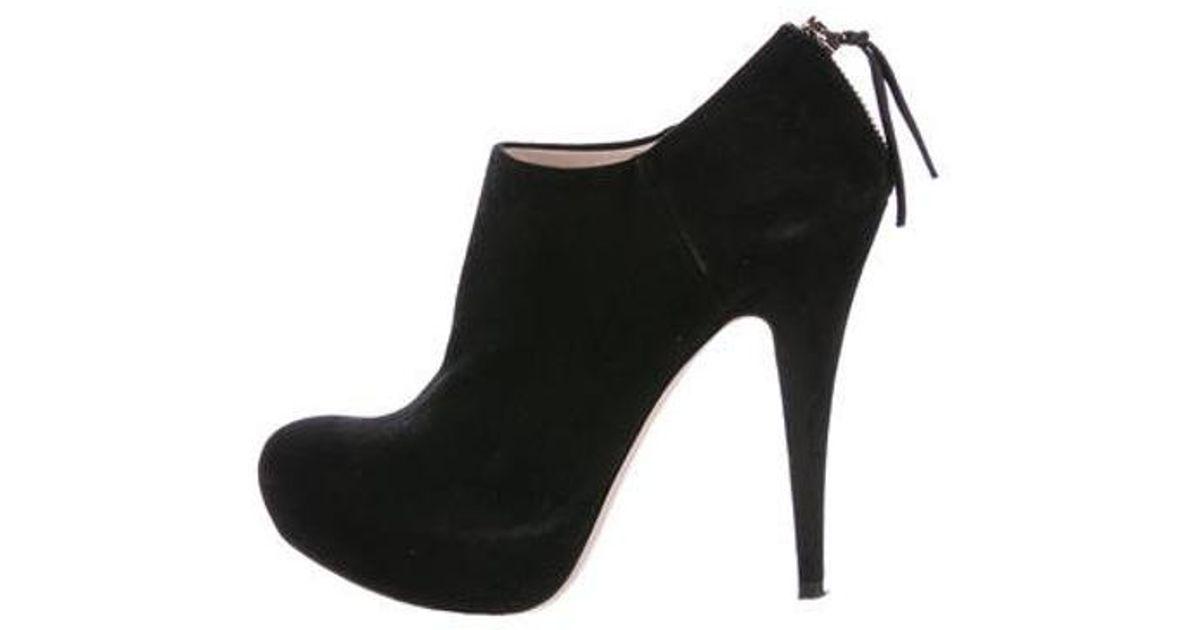f3e8ecc2903 Lyst - Miu Miu Miu Suede Platform Ankle Booties in Black