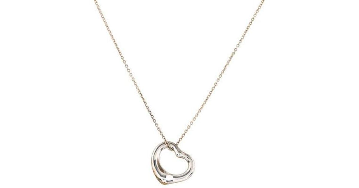 af41277e1 Lyst Tiffany Co Open Heart Pendant Necklace Silver In Metallic