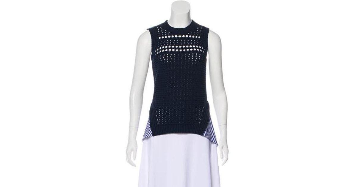 aa1d632dabda4 Lyst - Veronica Beard Sheer Sleeveless Sweater Navy in Blue