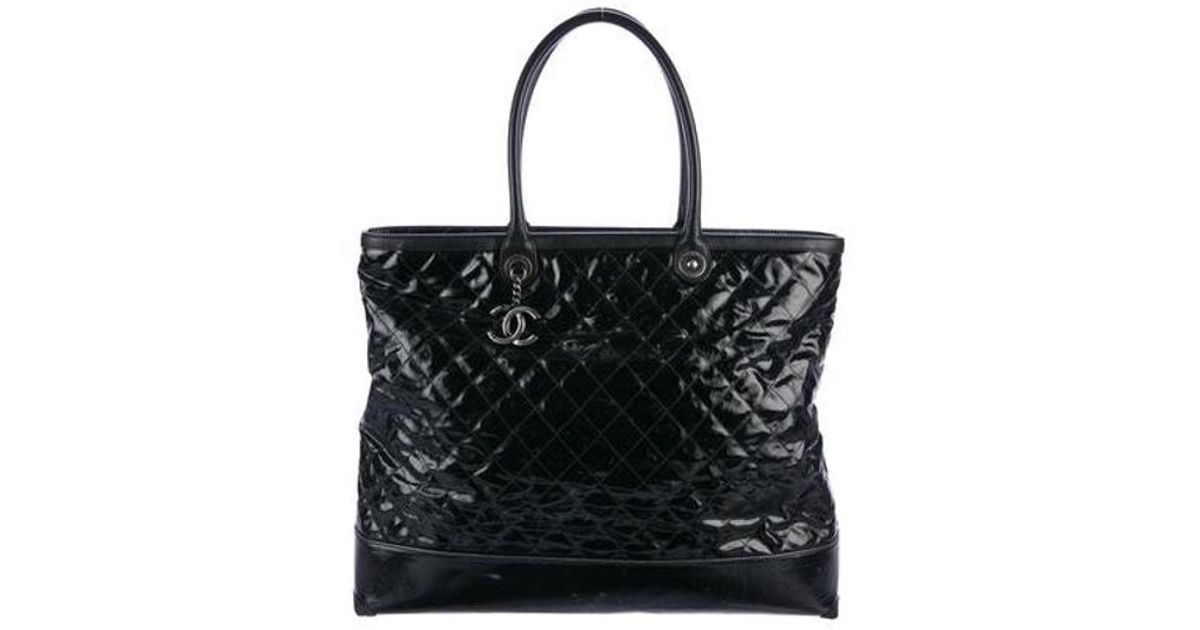 f739018f6f79 Lyst - Chanel Leather-trimmed Quilted Tote Black in Metallic