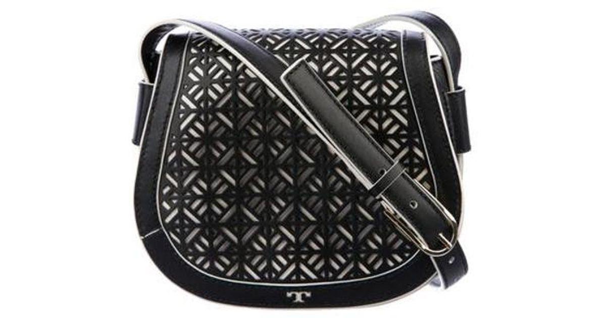 2c85b206ac37 Lyst - Tory Burch Leather Cutout Flap Bag Black in Metallic