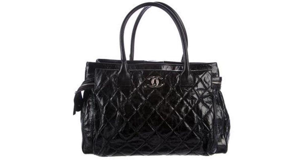 a9bb704034a1 Lyst - Chanel Glazed Calfskin New Portobello Tote Black in Metallic