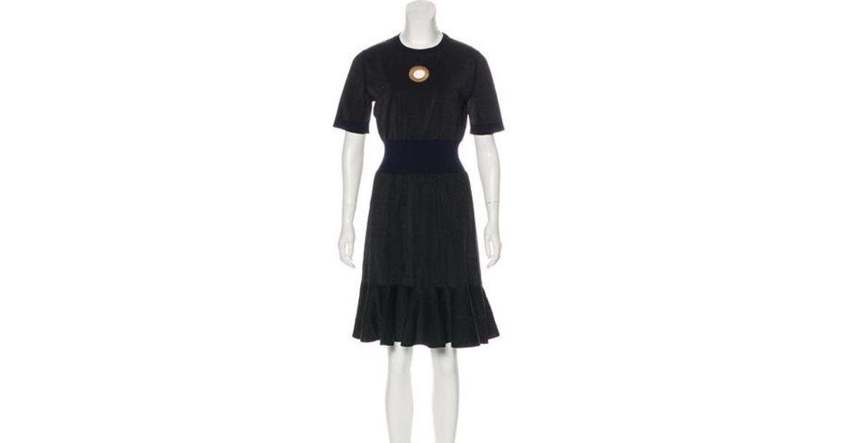 Lyst Louis Vuitton Short Sleeve Knee Length Dress In Black