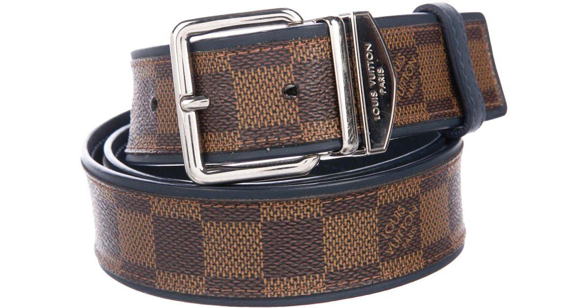 7cfafabcf8dc4 Lyst - Louis Vuitton Leather-trimmed Damier Ebene Belt Brown in Metallic  for Men