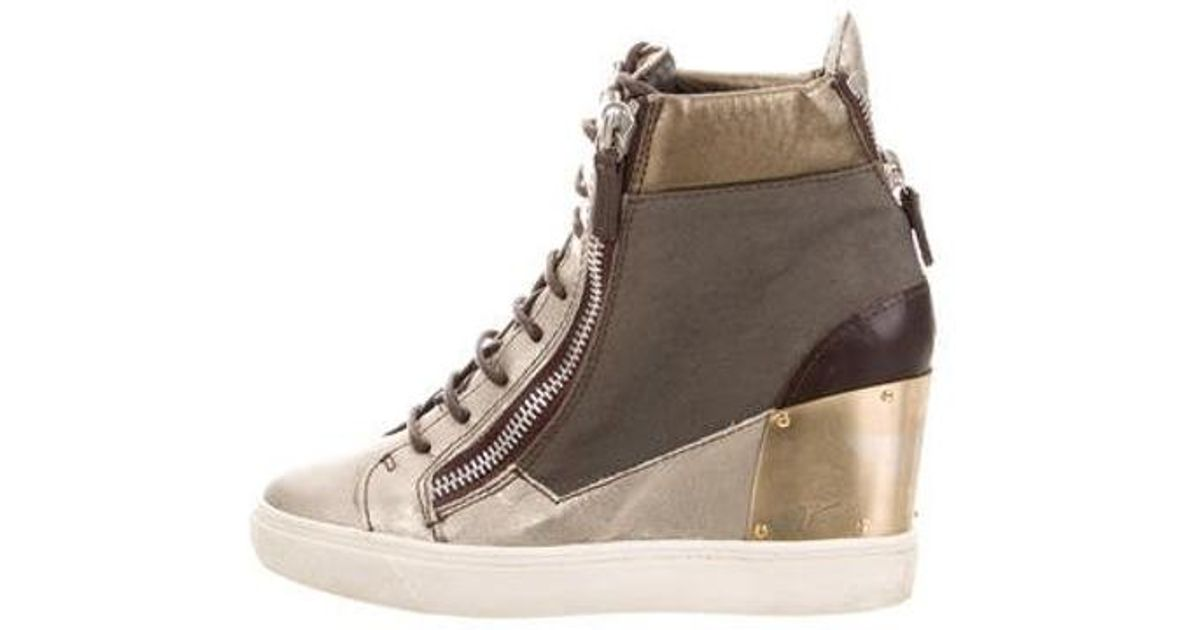 bb8cb8dde153 Lyst - Giuseppe Zanotti Leather Wedge Sneakers Grey in Metallic