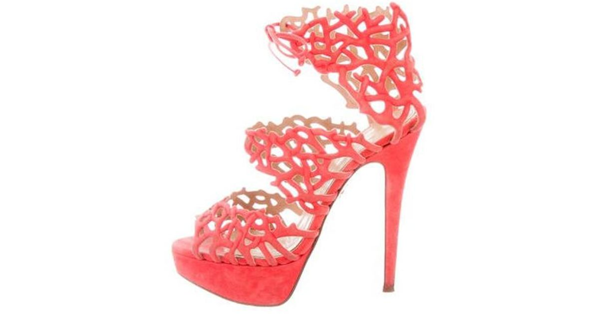 d96dec0803f Lyst - Charlotte Olympia Suede Platform Sandals Coral in Pink