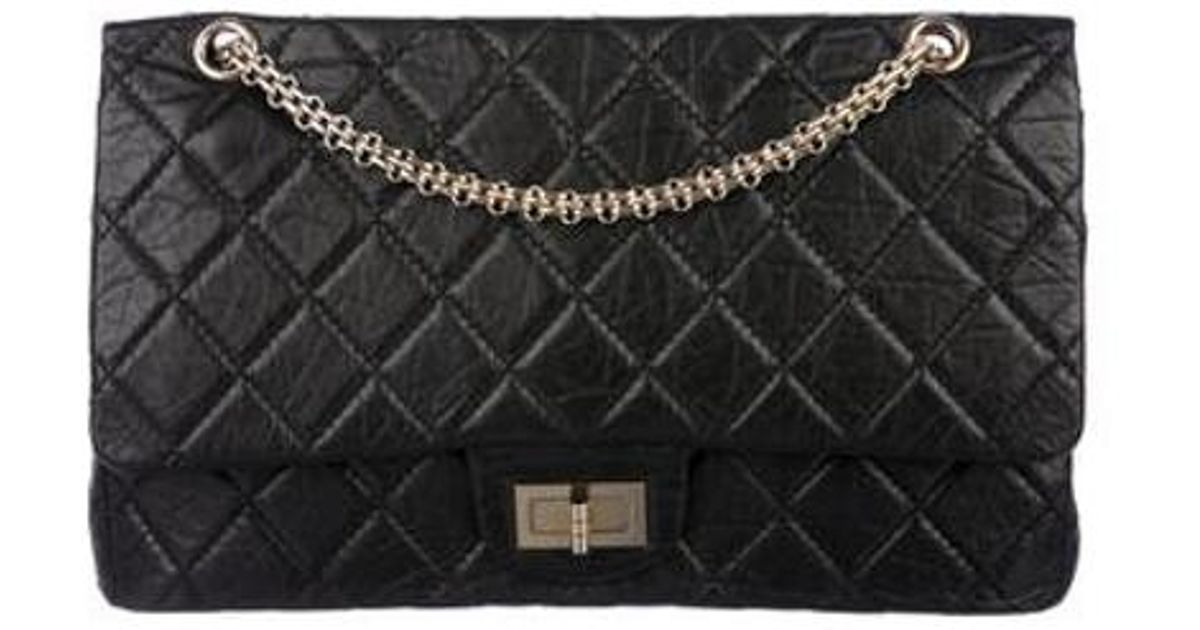 c5a1ad2aa0c0 Lyst - Chanel Reissue 227 Double Flap Bag Black in Metallic