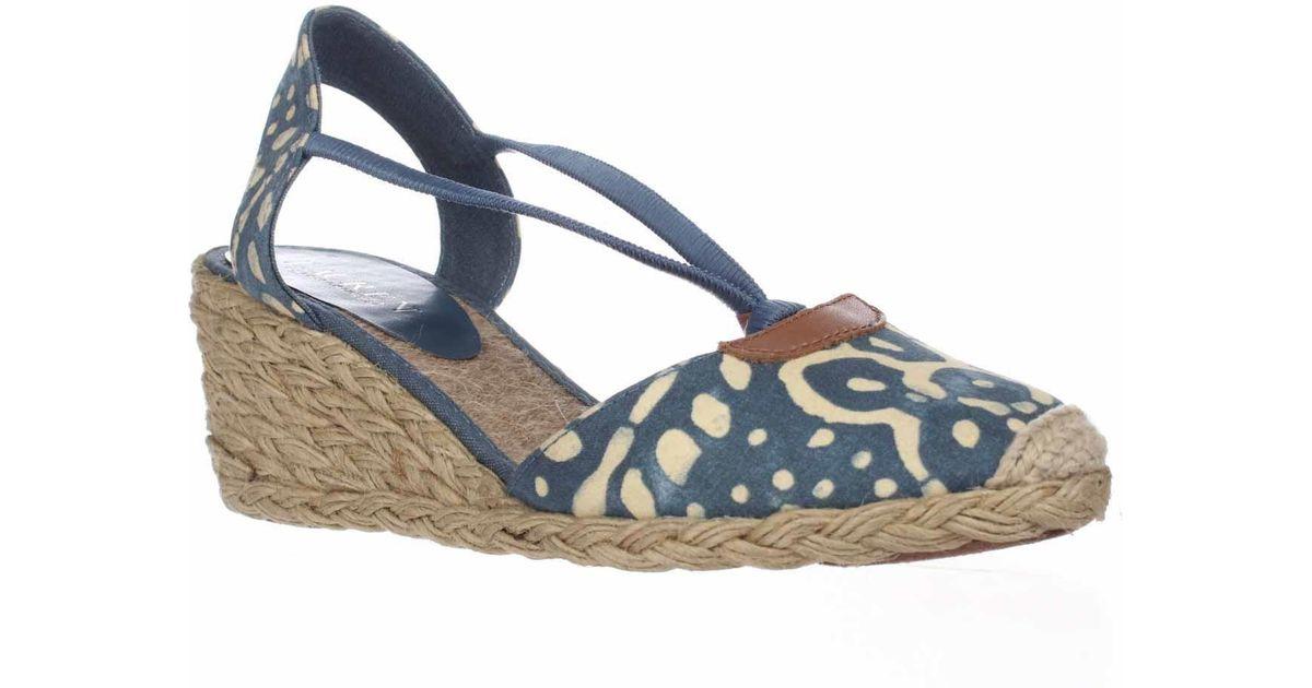 lauren by ralph lauren lauren ralph lauren cala espadrille wedge sandals in blue lyst. Black Bedroom Furniture Sets. Home Design Ideas