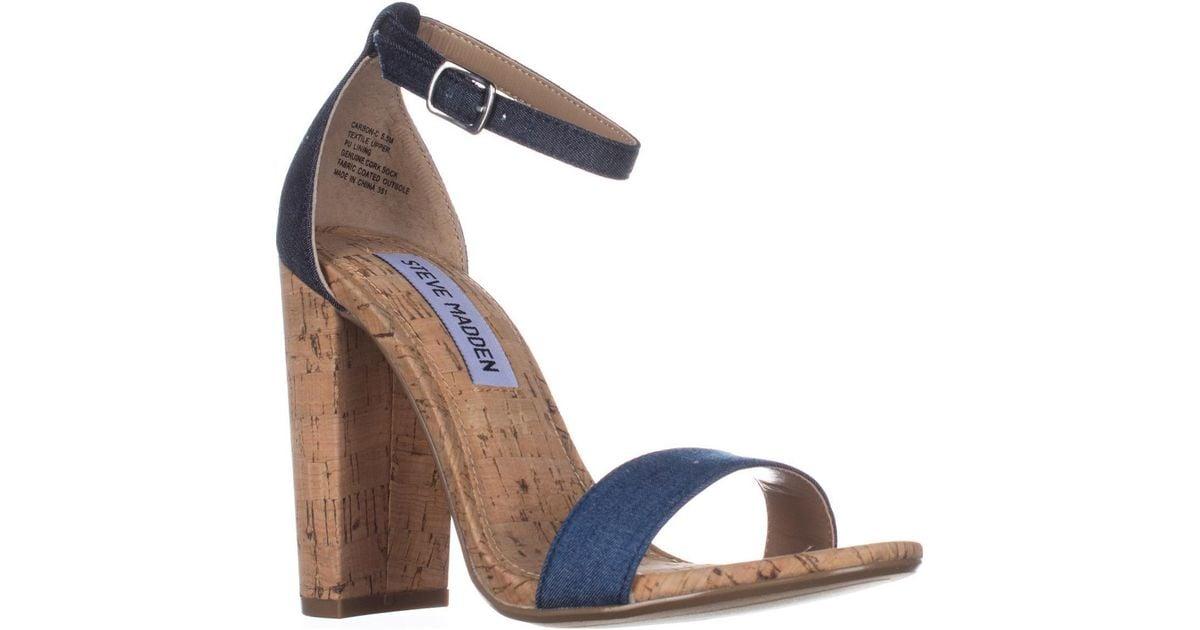 74332b3edf0 Lyst - Steve Madden Carson Rhinestone Heel Ankle Strap Sandals in Blue