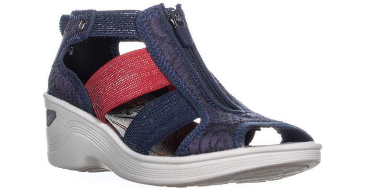9699e268e35 Lyst - Bzees Duet Wedge Zipper Sandals in Blue