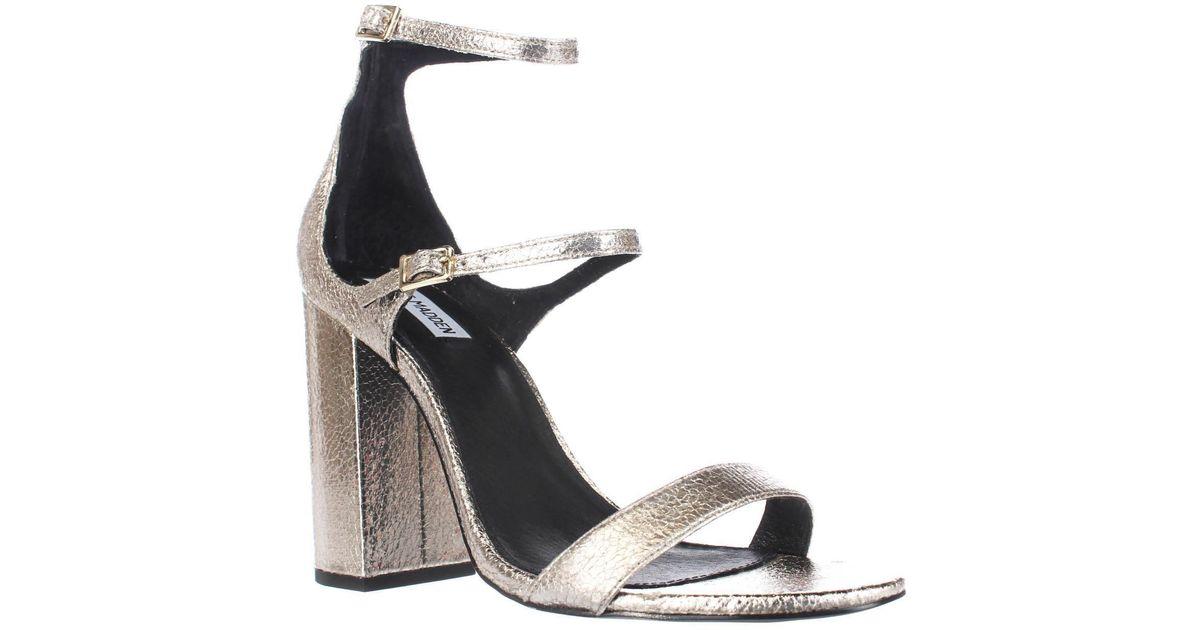 7d20e4f7fba2 Lyst - Steve Madden Parrson Strappy Dress Sandals in Metallic