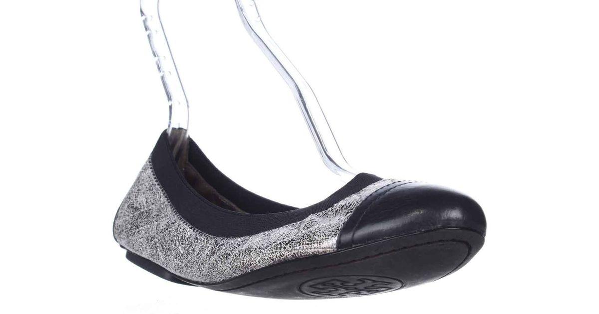 fe7ee7378cab Lyst - Tory Burch Bridgette Scrunch Ballet Flats in Black