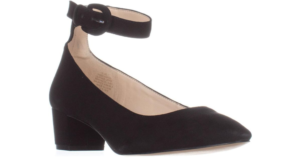 20dc90a18b4 Nine West Brianyah Low-heel Ankle Strap Pumps in Black - Lyst