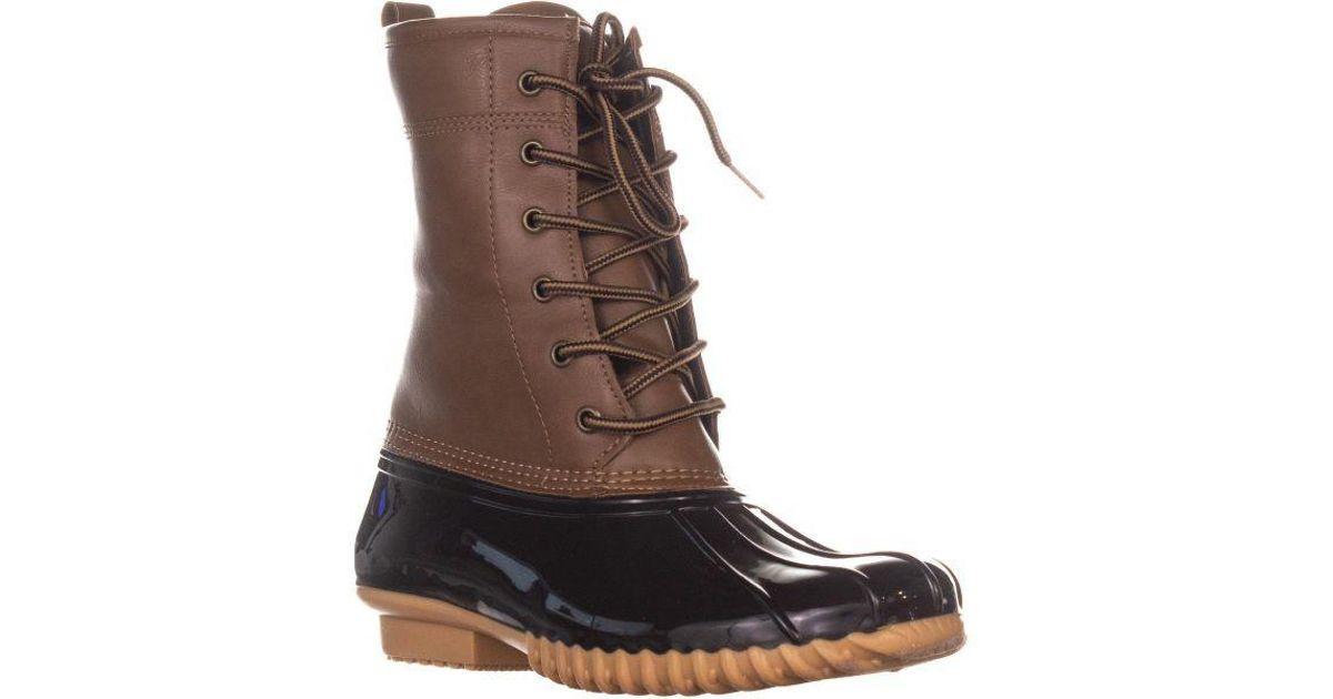 004a0f1d14a Lyst - Sporto The Original Duck Boot By Ariel Lace Up Duck Rain Boots in  Brown - Save 12%