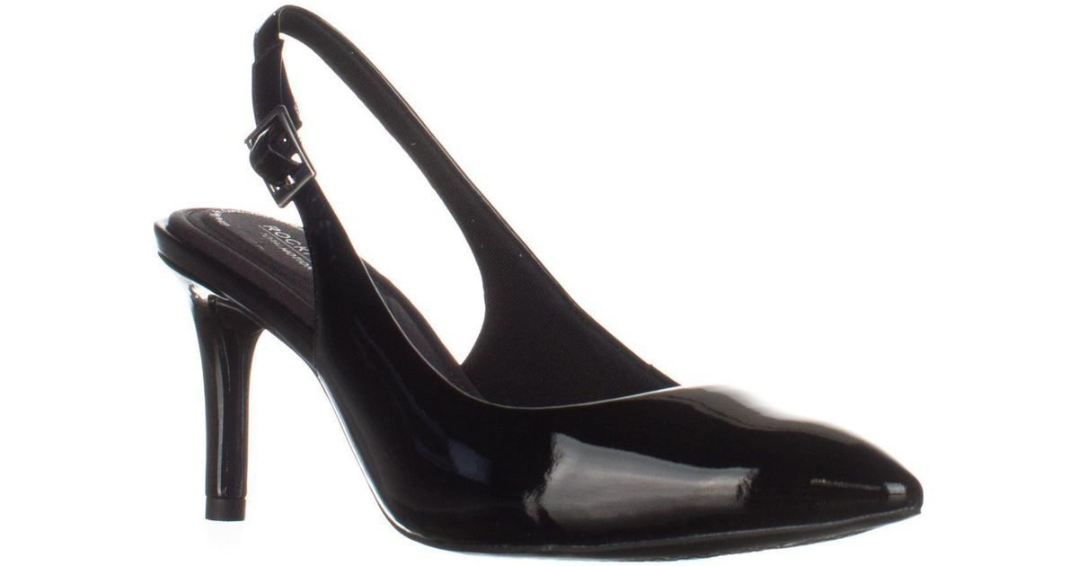 ee9a99174392 Rockport Total Motion Pointed Toe Slingback Pumps in Black - Lyst