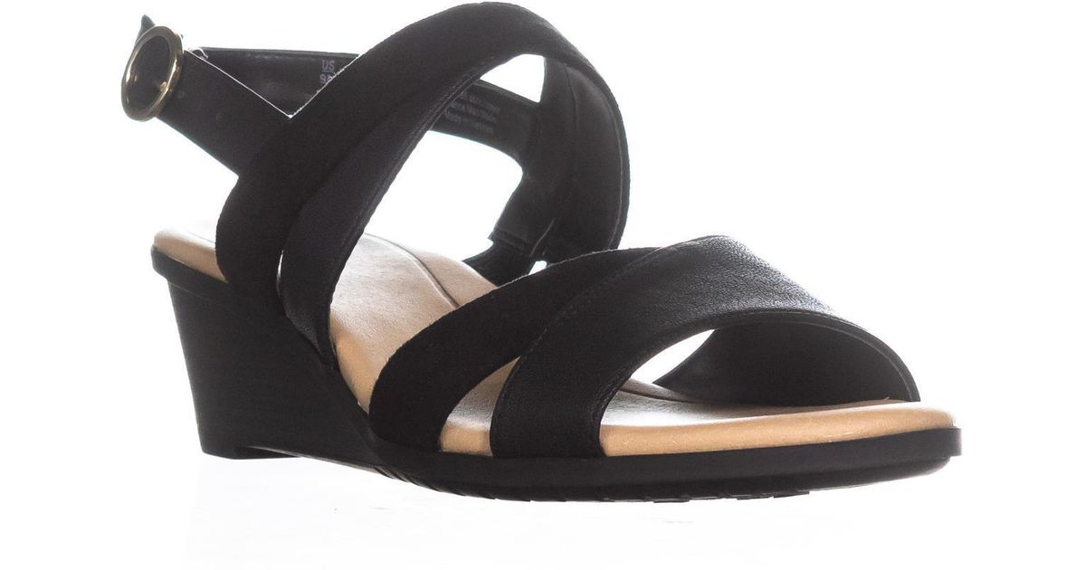 0ee236da16be Lyst - Dr. Scholls Essential Collection Grace Wedge Sandals in Black