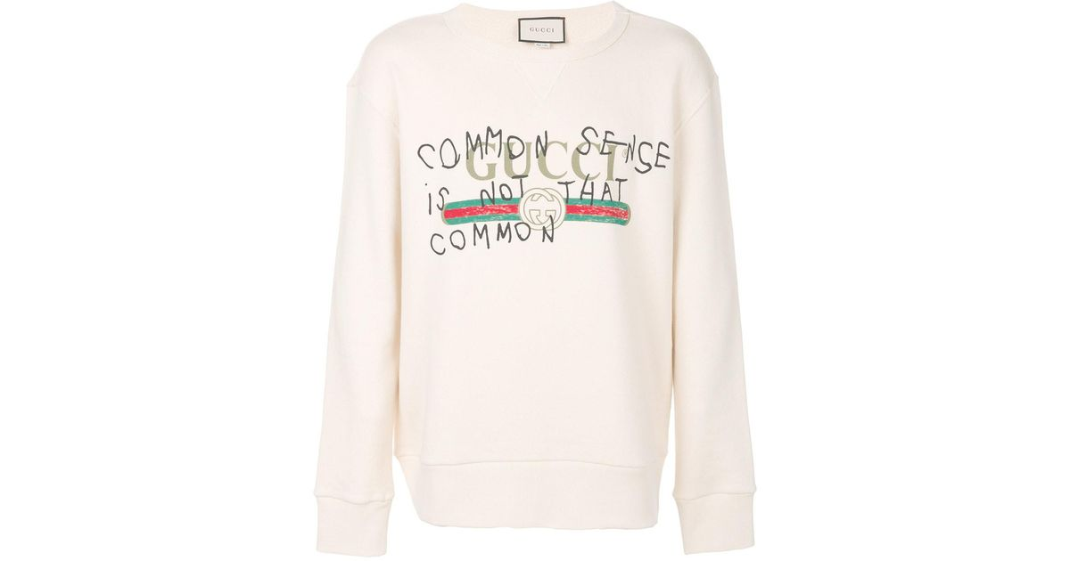 07221098 Gucci 'common Sense Is Not That Common' Sweatshirt for Men - Lyst