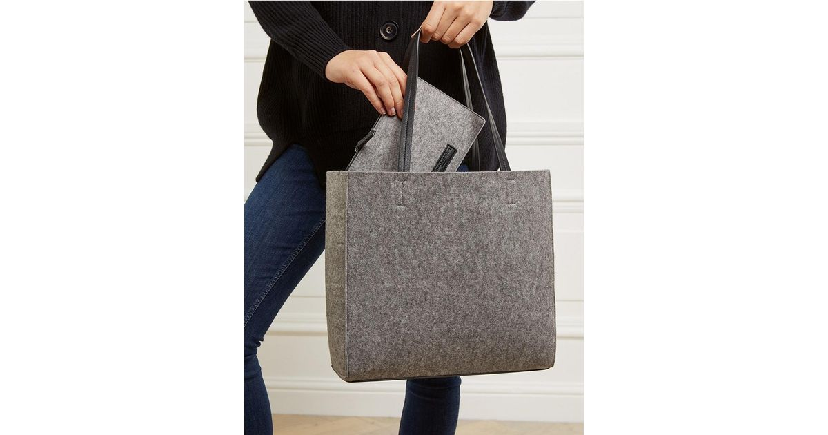 f0ba4baa9f96 The White Company Felt Tote Bag With Zipped Pouch in Gray - Lyst
