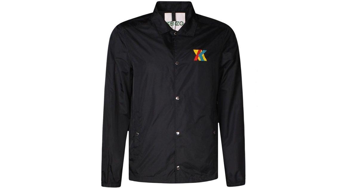 ad2da261d KENZO Black Multi-colour Logo Print Coach Jacket in Black for Men - Lyst