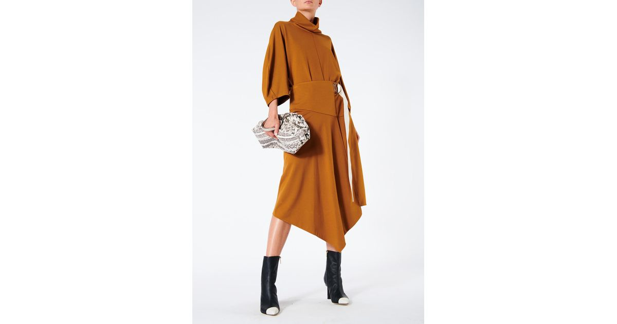 48817bcb4e Tibi Lightweight Ponte Asymmetric Drape Skirt in Brown - Lyst