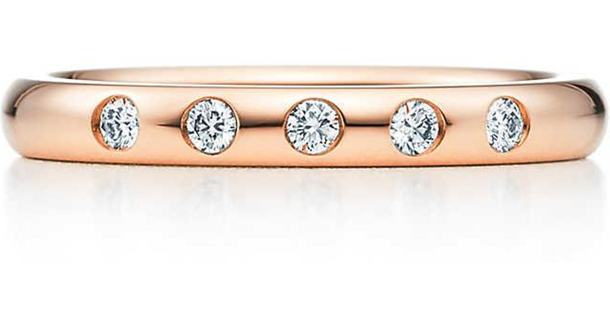 aa3744f3b Tiffany & Co. Elsa Peretti. Stacking Band Ring In 18k Rose Gold With  Diamonds in Pink - Lyst