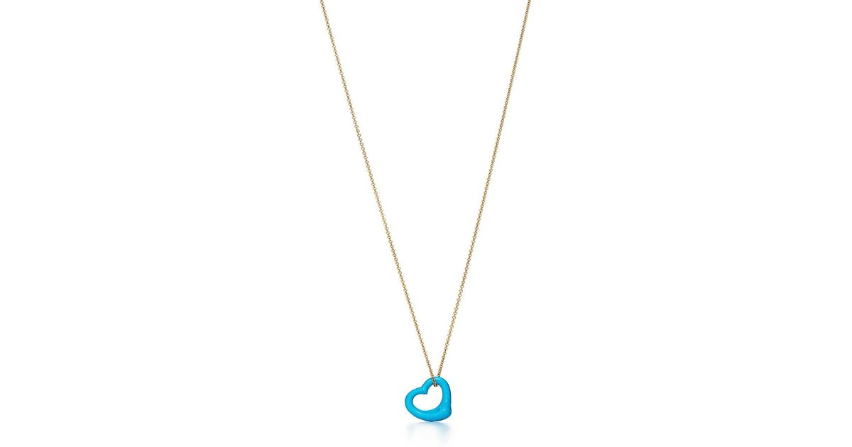 2fb1876c8 Tiffany & Co. Elsa Peretti® Open Heart Pendant Of Turquoise And 18k Gold in  Metallic - Lyst