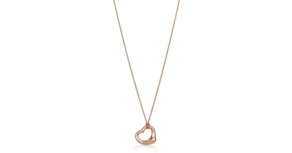 Lyst tiffany co elsa peretti open heart pendant in 18k rose lyst tiffany co elsa peretti open heart pendant in 18k rose gold with diamonds in pink aloadofball Images