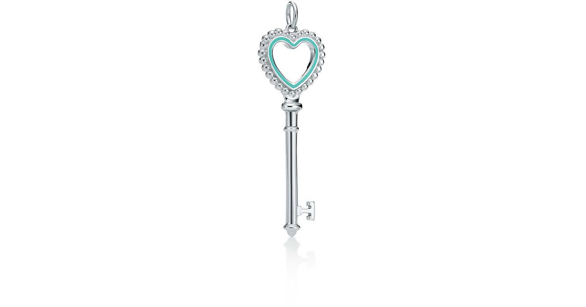 Lyst tiffany co beaded heart key pendant in metallic aloadofball Gallery
