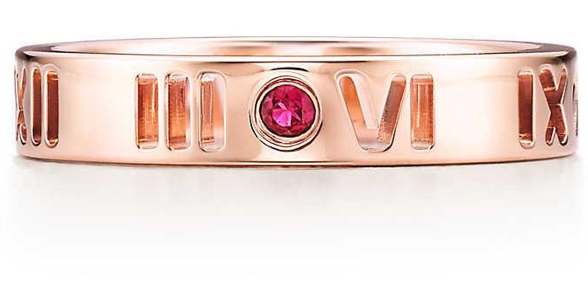 f6fb4f784 Tiffany & Co. Atlas. Pierced Narrow Ring In 18k Rose Gold With Rubies -  Size 5 in Pink - Lyst