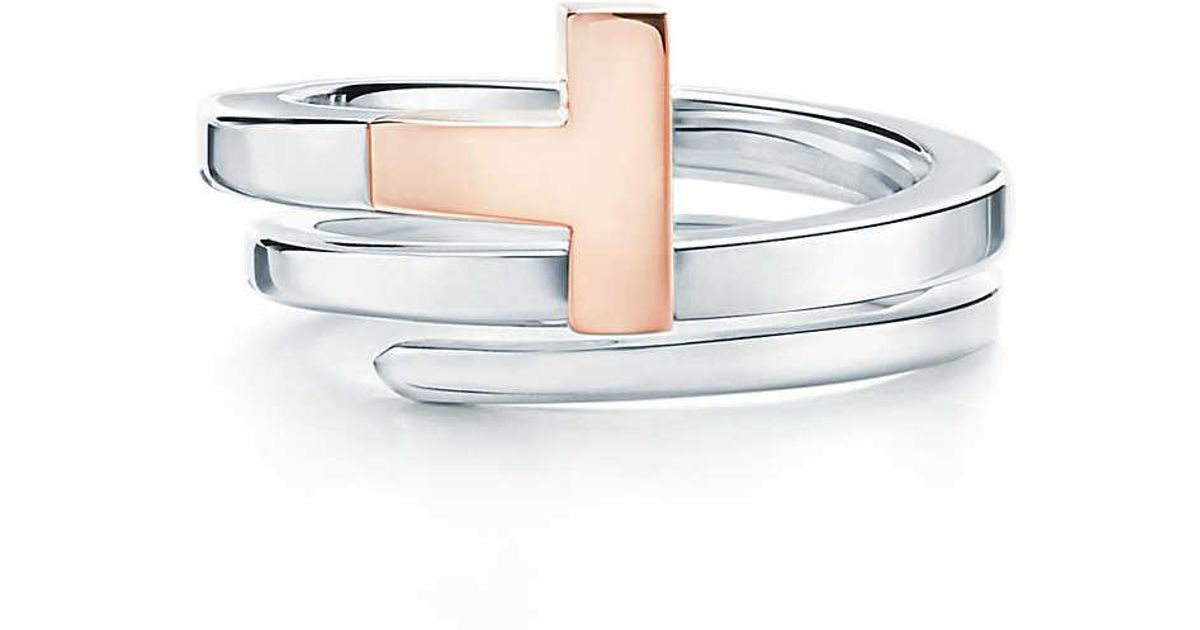 e2d1b4ca1 Tiffany & Co. Tiffany T Square Wrap Ring In 18ct Rose Gold And Sterling  Silver - 6 in Pink - Lyst
