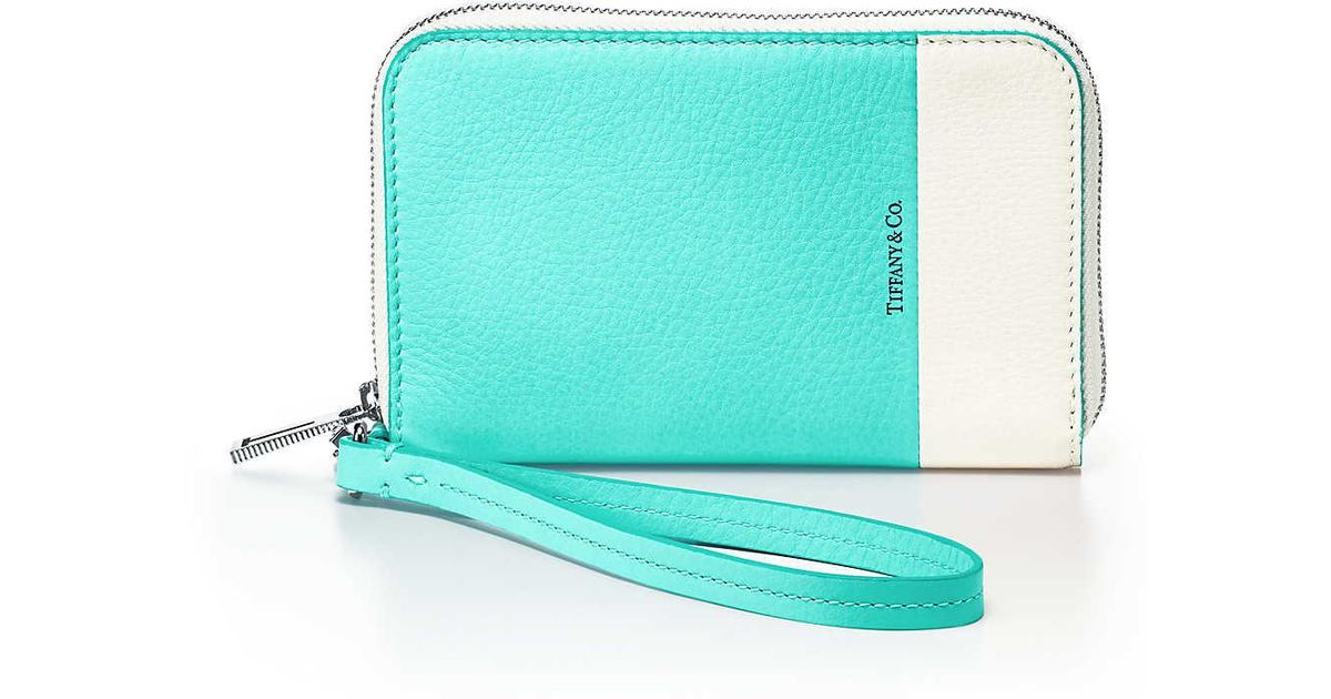 b39bda6d02 Tiffany & Co. Color Block Zip Wallet In Off-white And Tiffany Blue® Grain  Calfskin Leather in White - Lyst